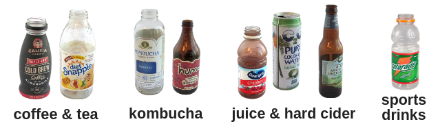 Bottles and cans of coffee, tea, kombucha, juice, hard cider, sports drinks