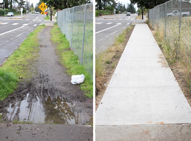 Before and After: Sidewalks on SE Flavel