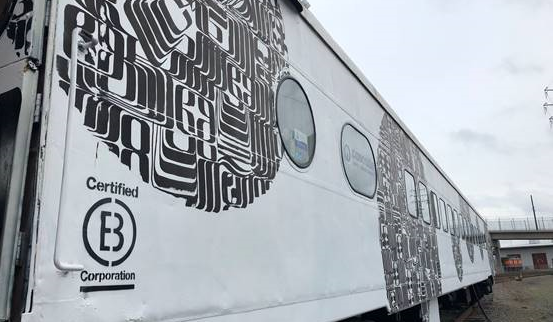 exterior of painted train car