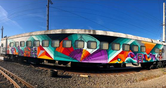 painted train car