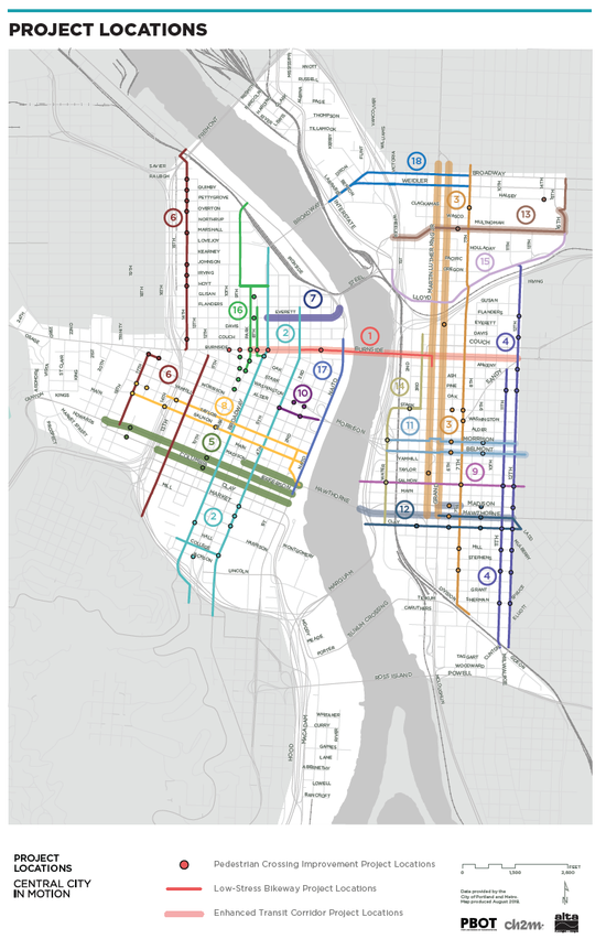 Map of Central City in Motion project locations