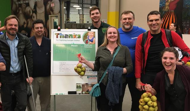 Staff volunteering at Oregon Food Bank