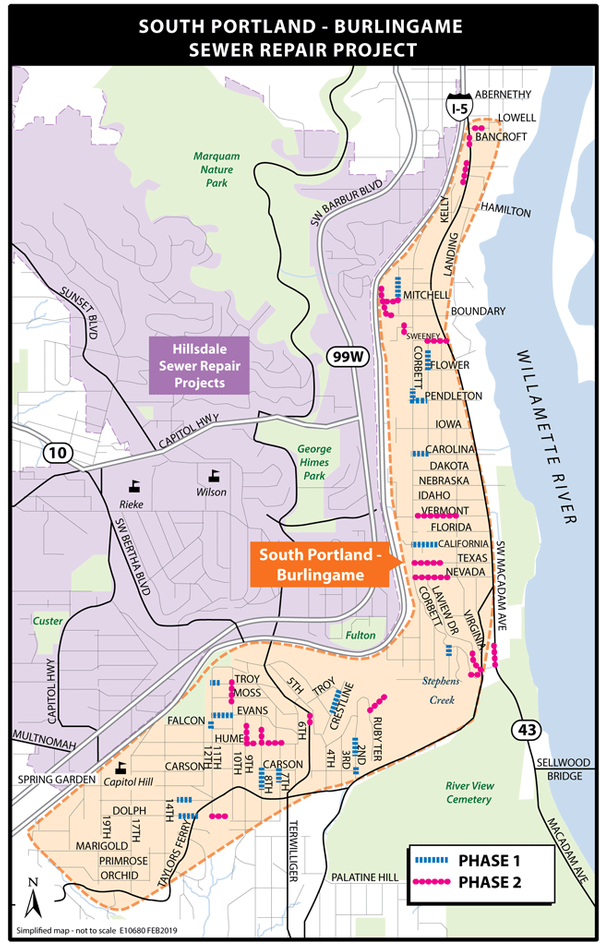 South Portland-Burlingame Sewer Repair phase 1 & 2 map