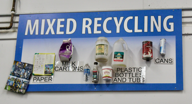 Recycling sign with attached examples of recyclable items