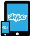 Skype logo on phone and tablet.