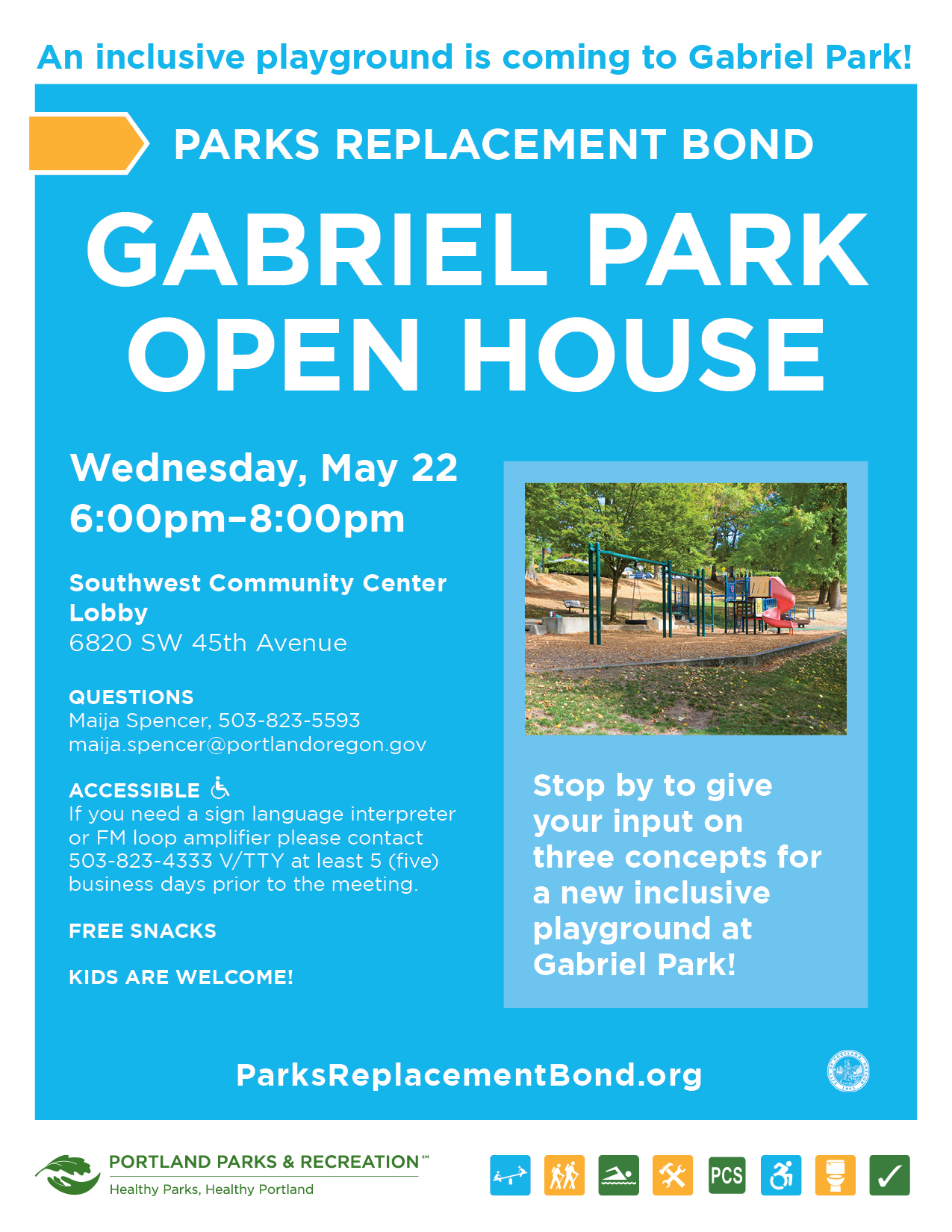 Gabriel Park Open House flyer
