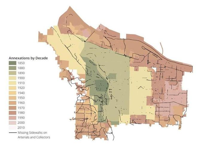 Map of Portland annexations by decade, with sidewalk gaps overlayed showing deficiency in parts of Portland annexed after the 1960's