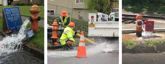 "1 image on the left of an orange hydrant with water spilling out the side onto the street with a sign that says ""Flushing Our System to Maintain Water Quality""; an image in the middle of two PWB staff conducting flushing, one is turning a valve attached to a hydrant and one is watching the water flowing out giving a thumbs up; and a 3rd image of an orange hydrant with a red automatic flushing device that looks like a box attached. Water is flowing out of the box onto the concrete and street below."