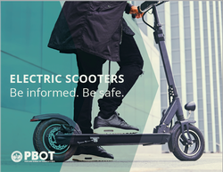 Graphic: Person with one foot on an e-scooter