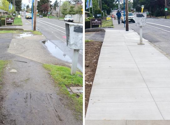 Before and after photos of sidewalk on SE Flavel