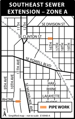 Map showing work in zone A