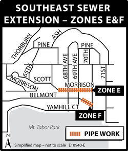 Map of projects in Zones E&F