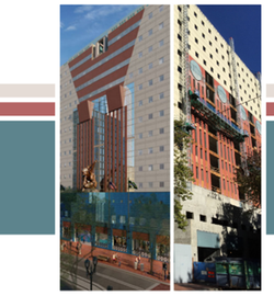 An image of the Portland Building, comparing its architectural rendering to a more recent photo showing construction on the exterior of the building.