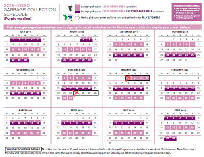 collection schedule purple
