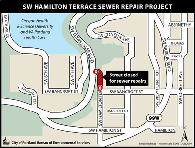 Map of SW Hamilton Terrace closure