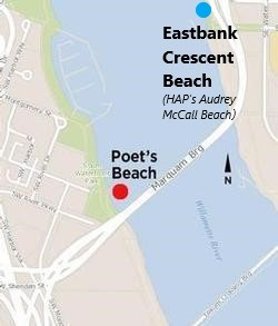 Map of Poet's and Eastbank Beaches