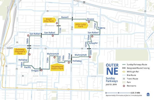 Map of 2019 Outer East Sunday Parkways route