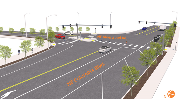 Rendering of NE Columbia Blvd. and Alderwood Rd. intersection