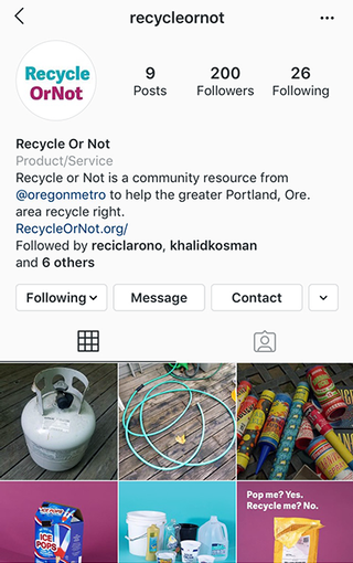 recycle or not instagram account page