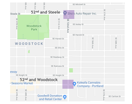 Overview map of 52nd and Steele and 52nd and Woodstock