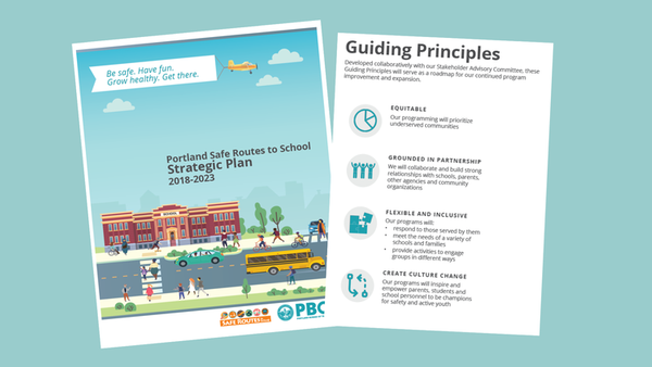 Cover and snapshot of SRTS Strategic Plan