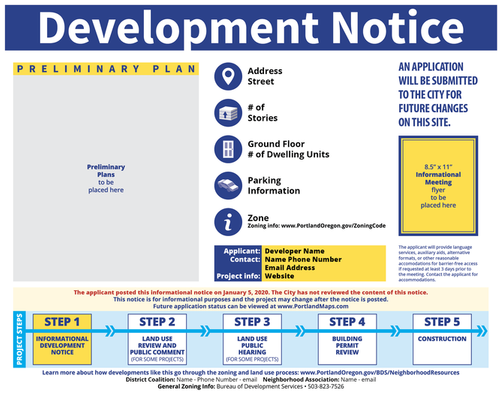 Sample of a Development Notice Sign.