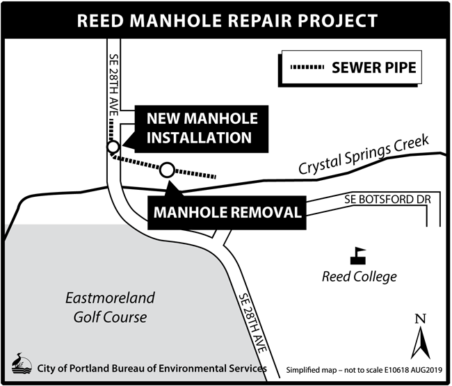 A map of the Reed College Manhole Repair Project