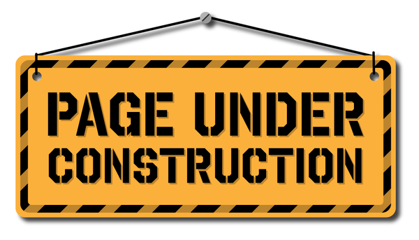 "Yellow and black wall sign that reads ""Page under construction"""