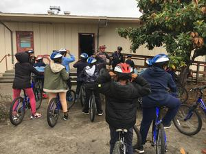 Woodlawn elementary students learning to ride safely