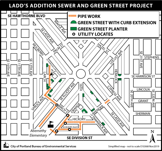Ladd's Green Street and Sewer Project map