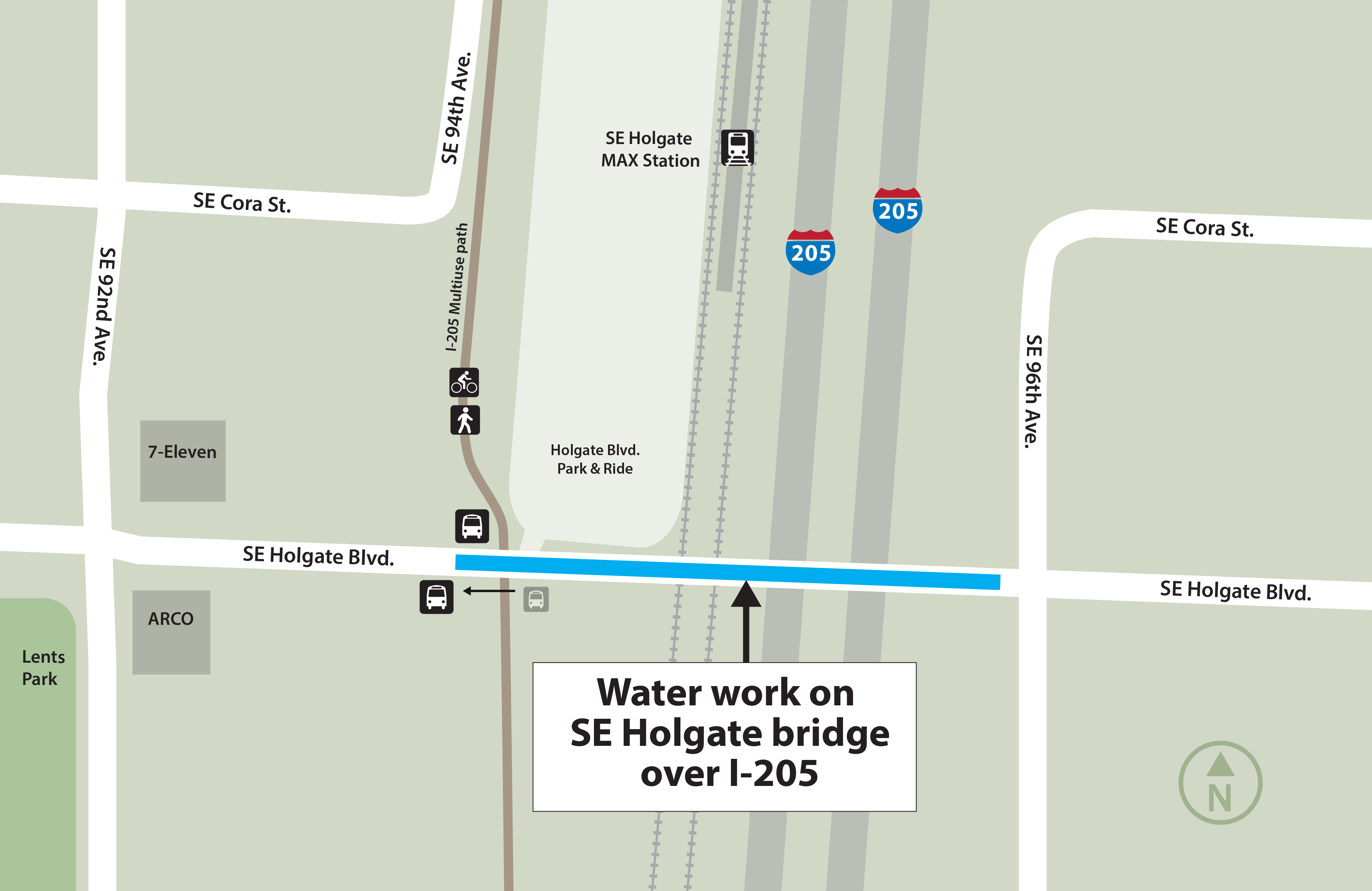 A map shows the location of the work zone