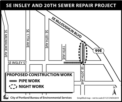 Map of SE Insley and 20th Sewer Repair Project