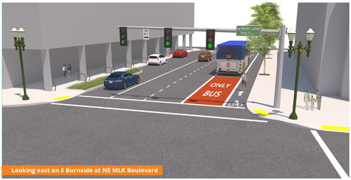 render of E Burnside project at MLK looking east