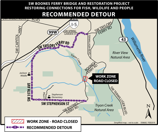 Map of SW Boones Ferry Detour Route
