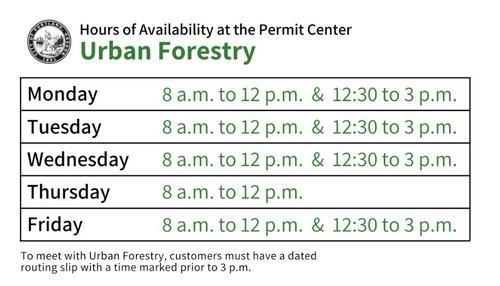 Urban Forestry hours Permit Center