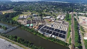 Aerial view of Columbia Boulevard Wastewater Treatment Plant, from the north over the Columbia Slough in recent years.