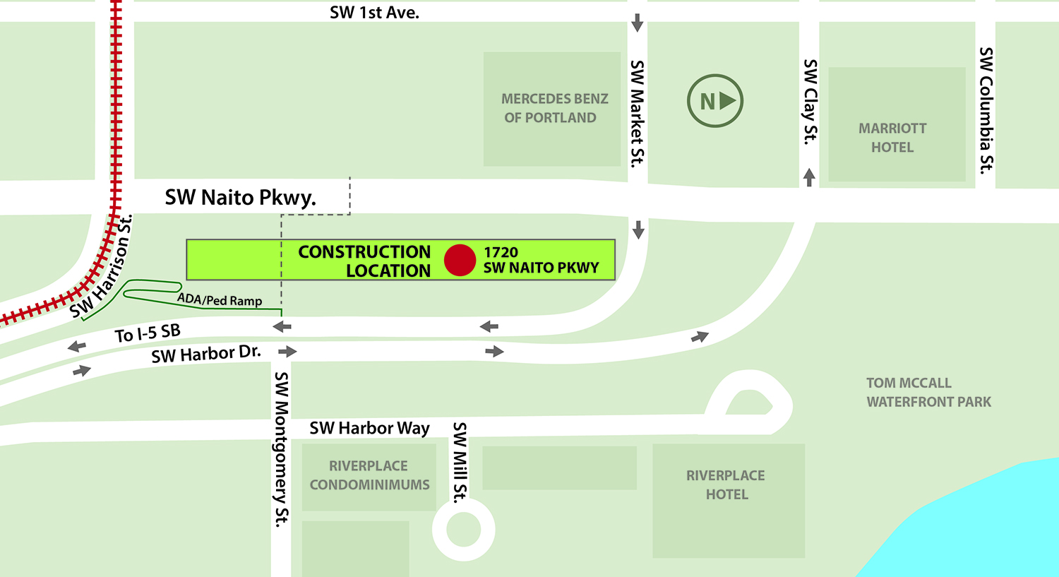 A map shows project construction area at 1720 SW Naito Parkway