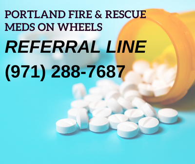 picture of pill bottle and words Referral line number: (971) 288-7687