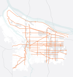 Map of Portland with high-crash streets bold