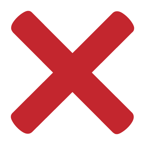 Red letter X to signify an asset is closed.