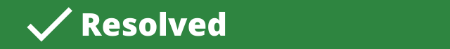 Green horizontal banner with a check mark indicating a recommendation was resolved