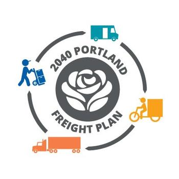 2040 Portland Freight Plan logo includes a rose in the center, with icons of someone delivering boxes, a medium-size delivery vehicle, a bicycle delivery vehicle, and a semi-truck.