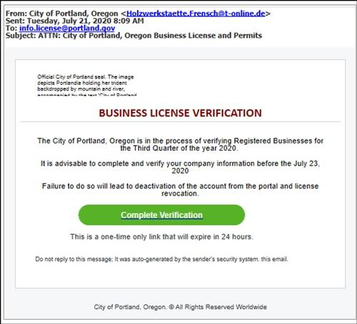 Image of phishing attempt notice
