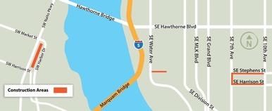 Construction areas for the Willamette River Crossing project