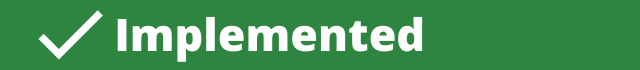 Green horizontal banner with a check mark indicating a recommendation was implemented