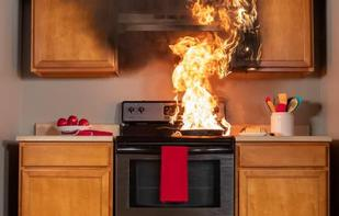 kitchen fire caused by distractions