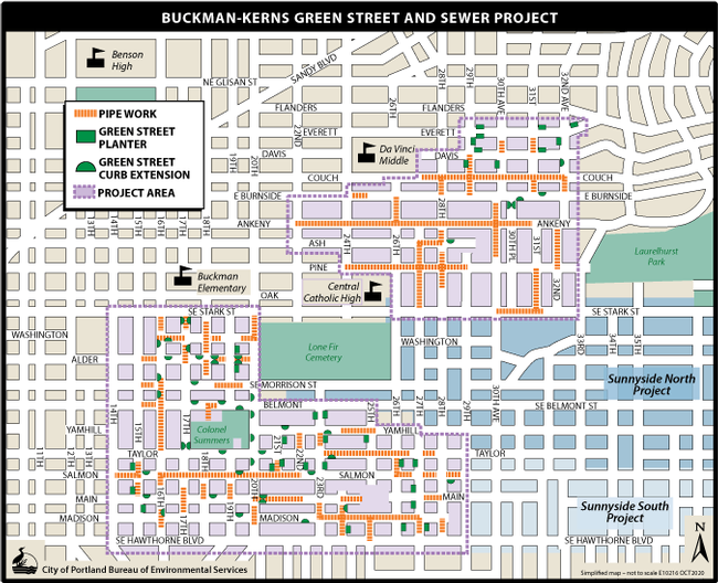map of buckman kerns green streets and pipe work