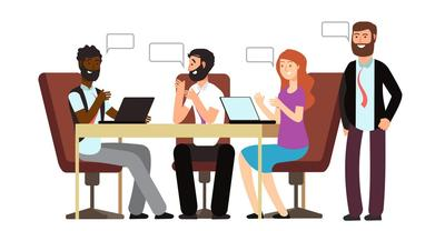 Graphic Illustration: Animated people sit around a table smiling and gesturing with conversation bubbles.