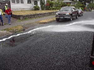 Photo - Water soaks through porous asphalt