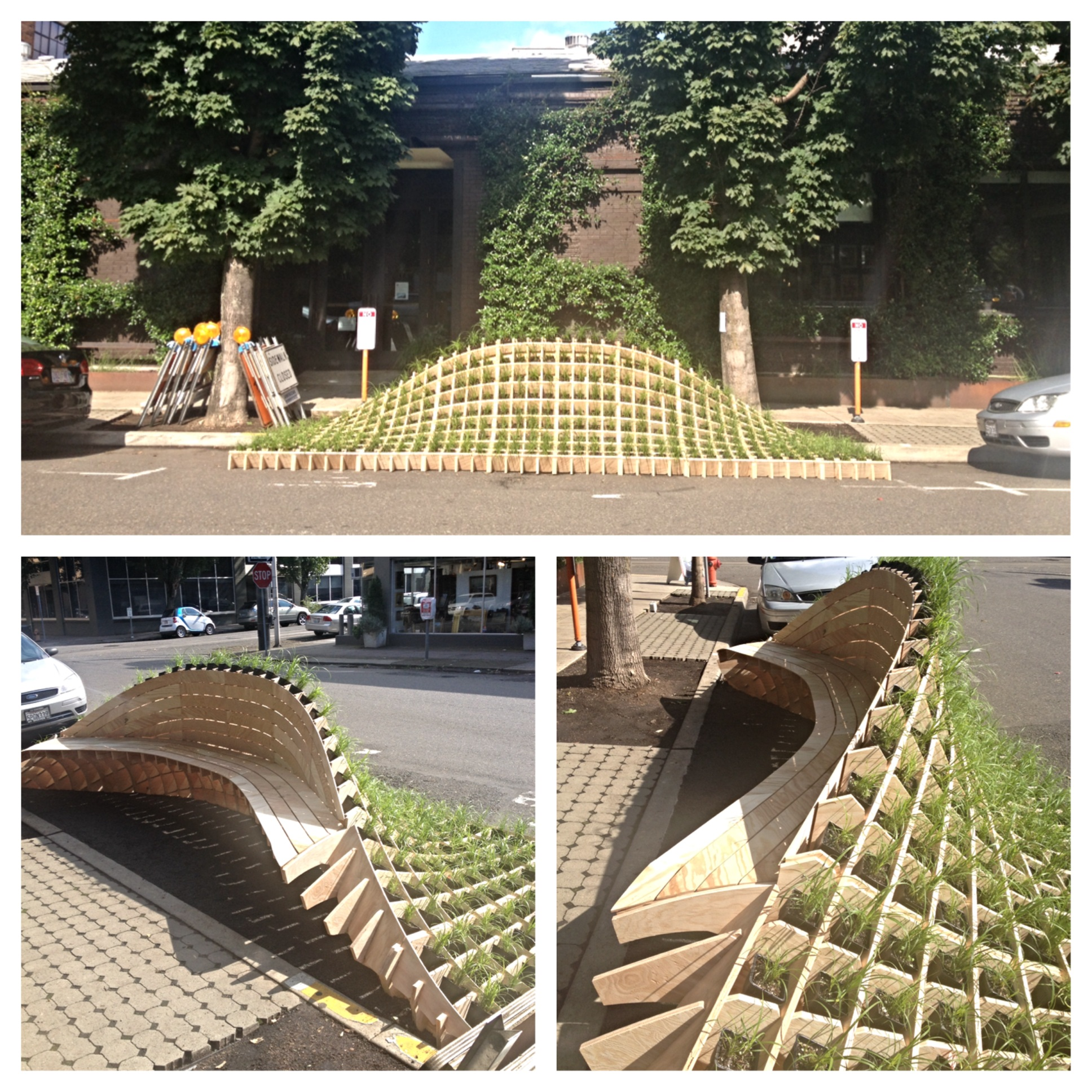 Architectural bench with plants